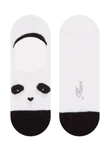 Mavi Panda Baskılı  Babet Çorabı Beyaz